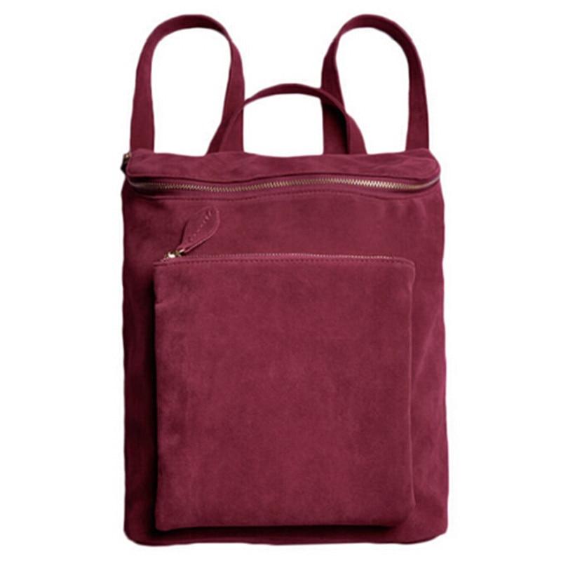 ФОТО Korean Women Men's Backpack Retro Velvet Leather Double Shoulder Bag Street Bag Big Tote school bag Purses bolsa feminina