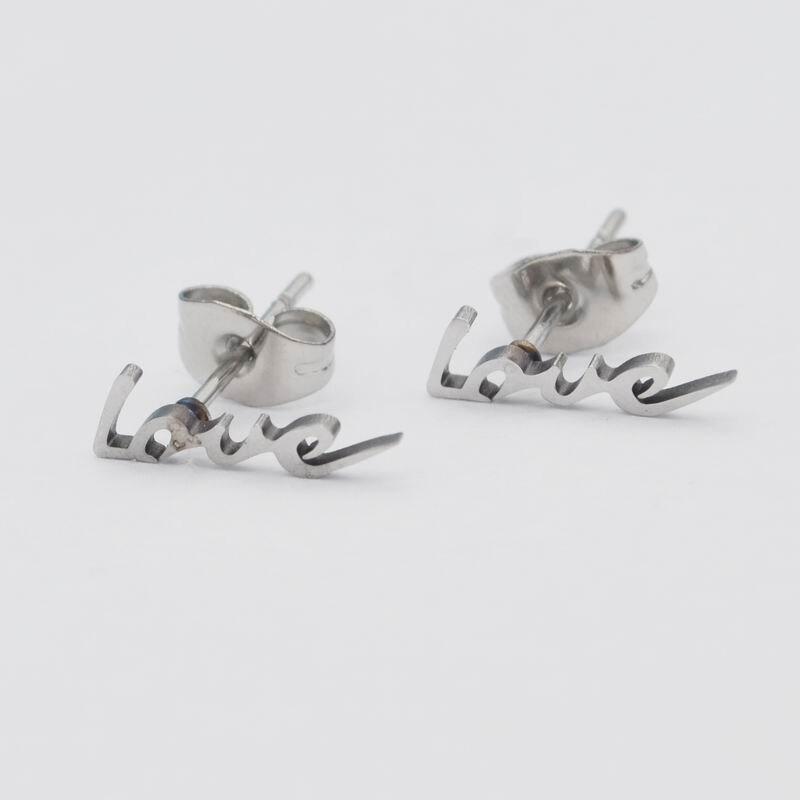 Sykesha Love Words Stainless Steel Punk Jewelry Love Stud Earrings For Women and Men Earrings Jewelry Unisex Love Promotion Gift
