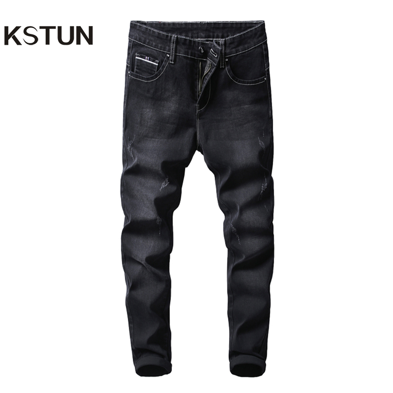KSTUN Black Jeans Men Famous Brand Spring And Autumn Business Casual Slim Fit  Stretch Denim Pants Male Full Length Trousers