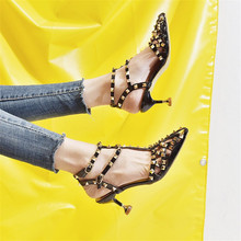 Rivet High heel sandals women 2019 new summer shoes women Pointed Toe Thin Heels Patent Leather Word Buckle Casual ladies shoes недорого