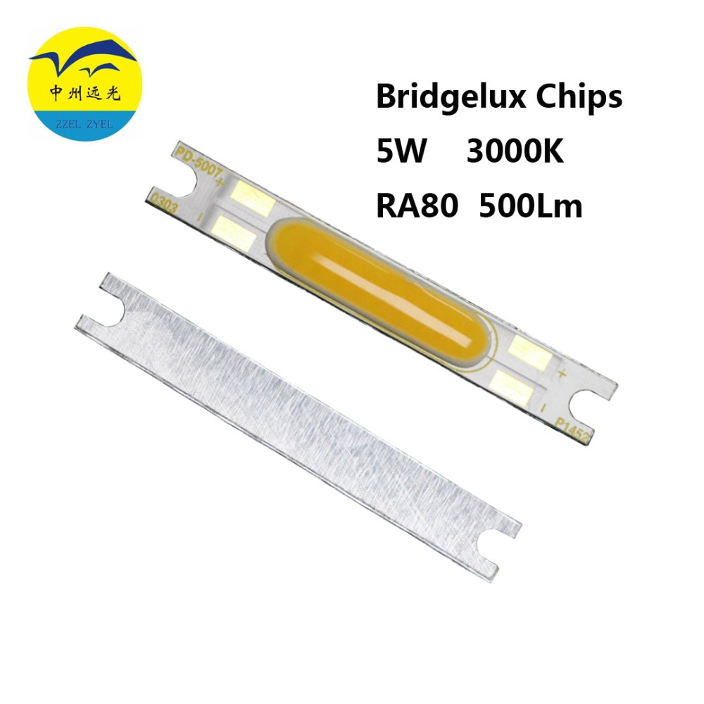 Bridgelux Chips 50pcs/lot DC9V 5W 50X7mm 500lm CRI80 Strip COB LED Light Module for BULB LED