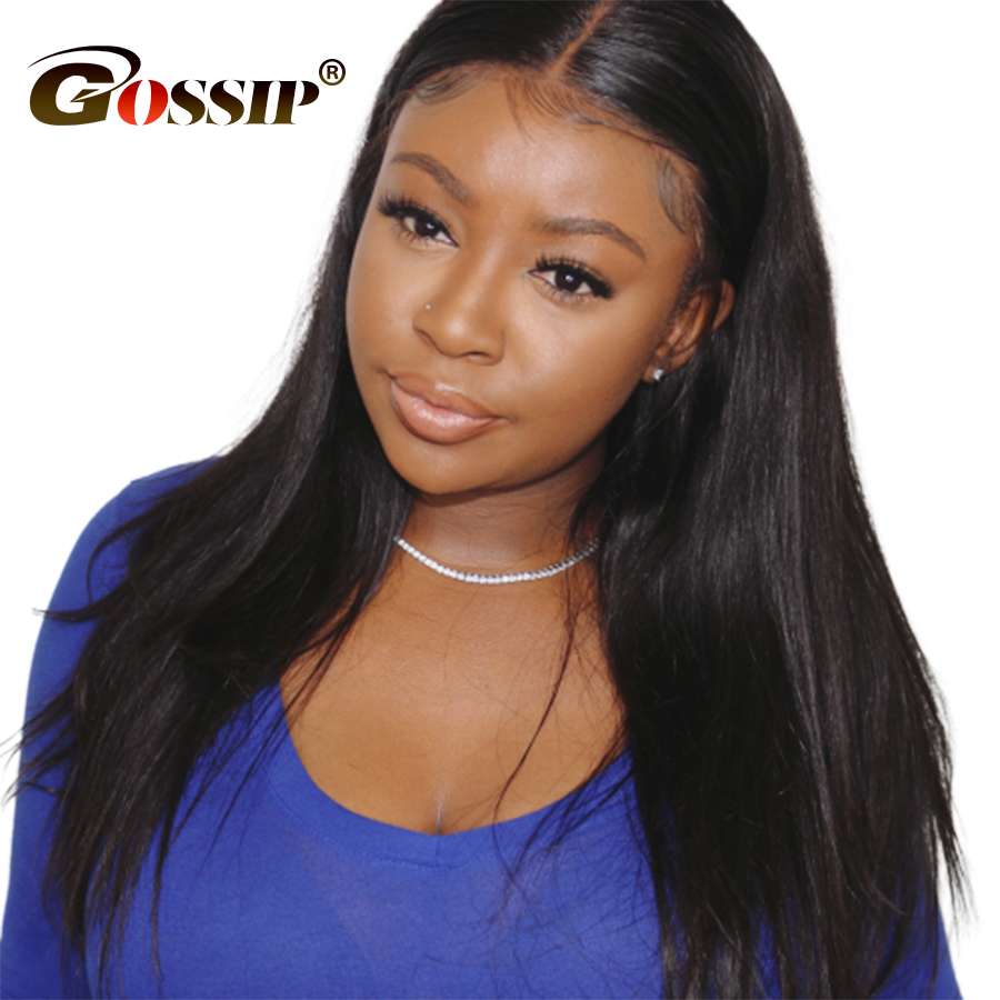 13x6 Straight Lace Front Wig Indian Hair Black Wig Gossip Remy Lace Front Human Hair Wigs