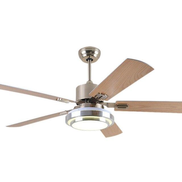 110v 220v 52inch Living Room Modern Fan Ceiling Lights Fixtures Wood Leaf Led Acrylic