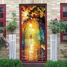 Art oil painting 3D decoration glass door beauty image door sticker bedroom wooden door home decoration waterproof sticker 3d zebra door sticker