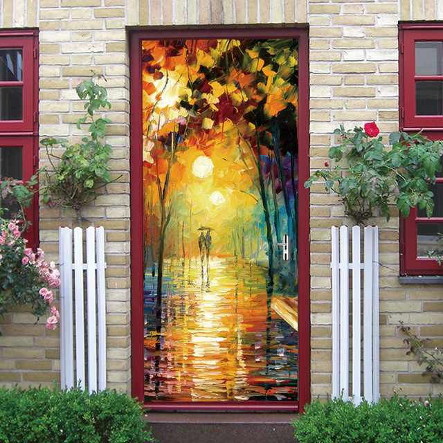 Art Oil Painting 3d Decoration Glass Door Beauty Image Door Sticker