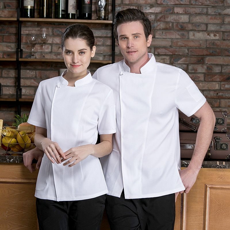 High Quality Chef Jacket Short Sleeve Chef Uniform Hotel Working Wear Restaurant Work Clothes Tooling Uniform Cook Suit B-6574