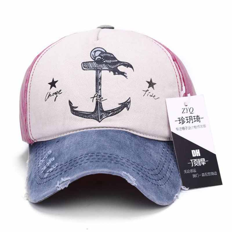 02c04fcc0 2018 Cute Print Pirate Anchor Cap Pirate ship Anchor Stars Visor Baseball  Caps Unisex Gorras Adjustable Hats Sports Casual Hat