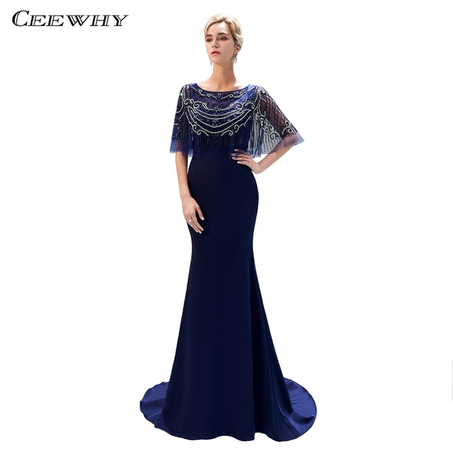 CEEWHY Luxury Long Evening Dress Formal Party Gown Mermaid Dress Muslim  Vintage Evening Dresses Beaded Vestido de Festa Longo fe5984e4cc83