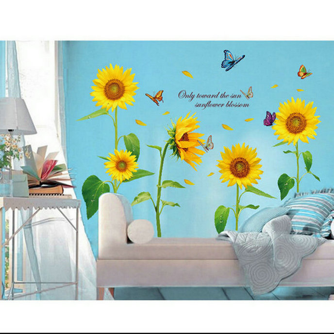 Sunflower Butterfly Flying Removable Wallpaper Vinyl Art Decal Wall Sticker For Kids Room Home Decor