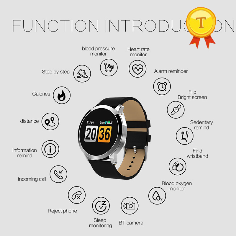 2018 New Colorful Screen Smart bracelet Metal & Leather Wristbands Real-time Heart Rate Measurement Smart Bracelet Fitness Band : 91lifestyle