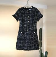 2017 New Winter Clothing Small Fragrant Plaid Short Sleeve Wool Dress A Word Pink White Black