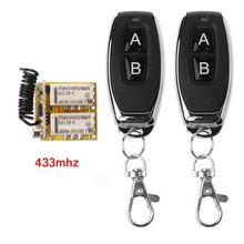 цена на RF 2 Relay 433 Receiver Wireless Remote Control Learning DC 3.7V to 24V Micro Switch NO COM NC Transmitter