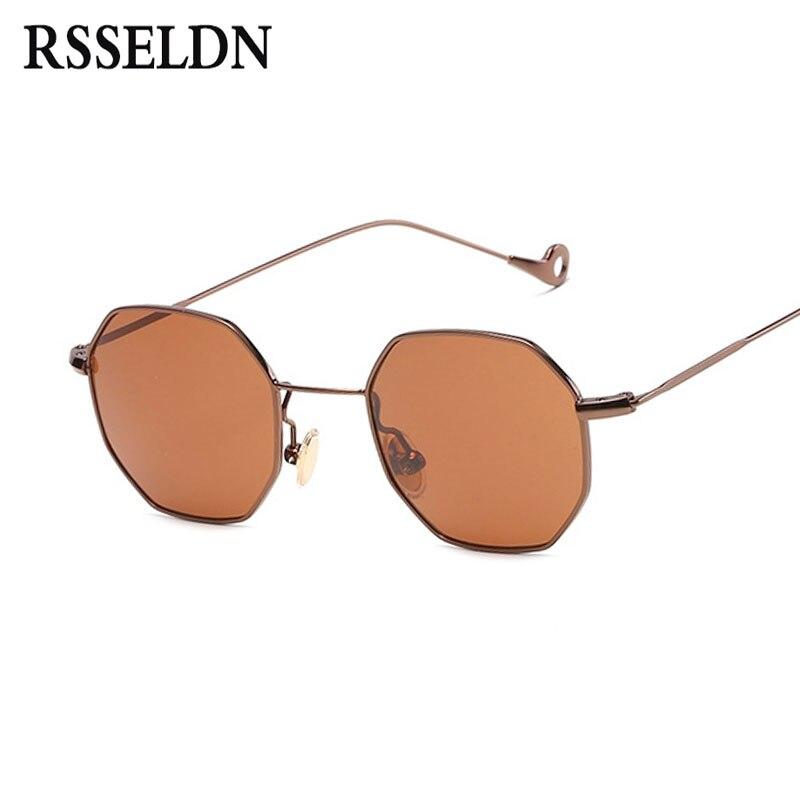 RSSELDN Fashion Women Sunglasses Small frame polygon Clear lens Sun glasses Brand Designer Men Vintage Metal Frame Mirror UV400