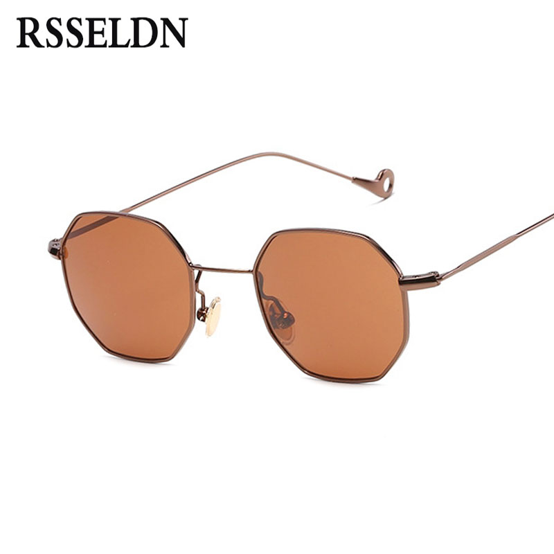 RSSELDN Fashion Women Sunglasses Small frame polygon Clear lens Sun glasses Brand Designer Men Vintage Metal Frame Mirror UV400