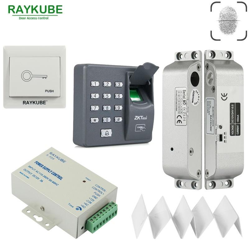 RAYKUBE Fingerprint Door Access Control System + Electric Mortise Lock Fingerprint RFID Reader Password Keypad gprs real time fingerprint access guard tour system