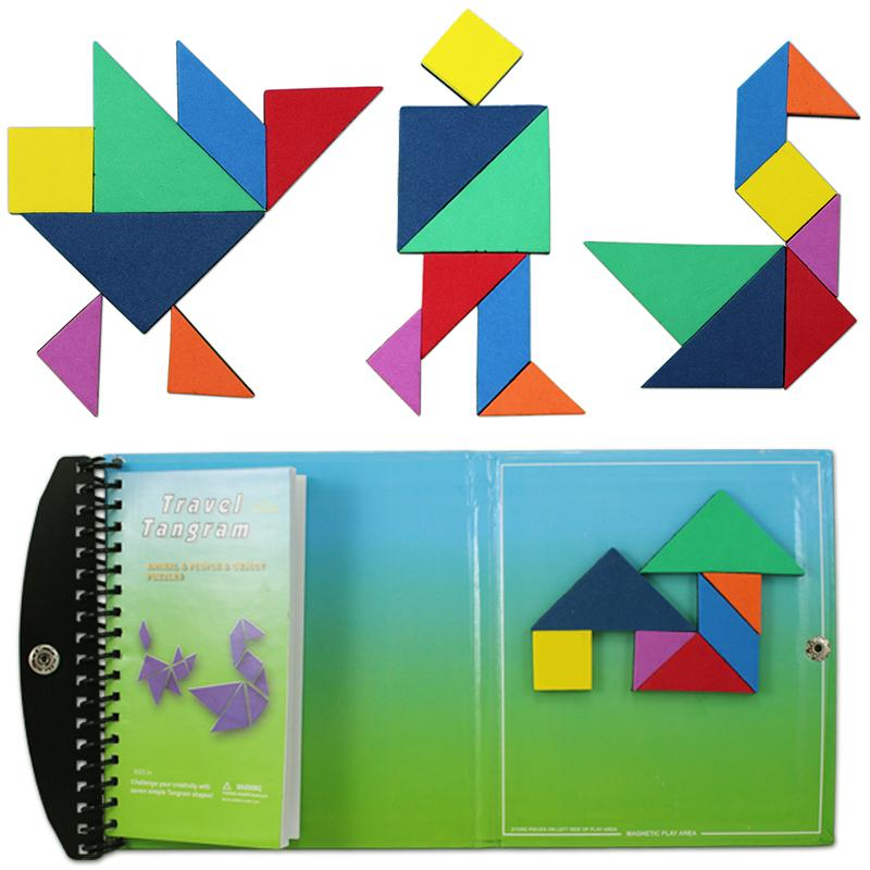 120 Puzzles Magnetic Mathematic Tangram Toys Children Kids Challenge IQ Book puzzles