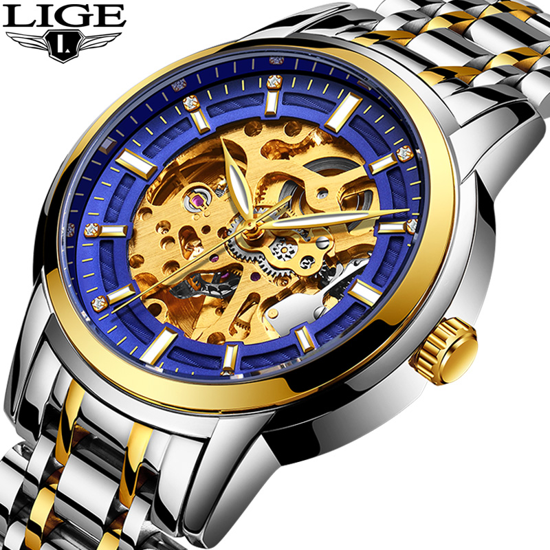 LIGE Men's Watches Top Luxury Brands Men Business Automation Mechanical Watch Waterproof Leather Watchs Military Male Clock+ Box men watch top luxury brand lige men s mechanical watches business fashion casual waterproof stainless steel military male clock