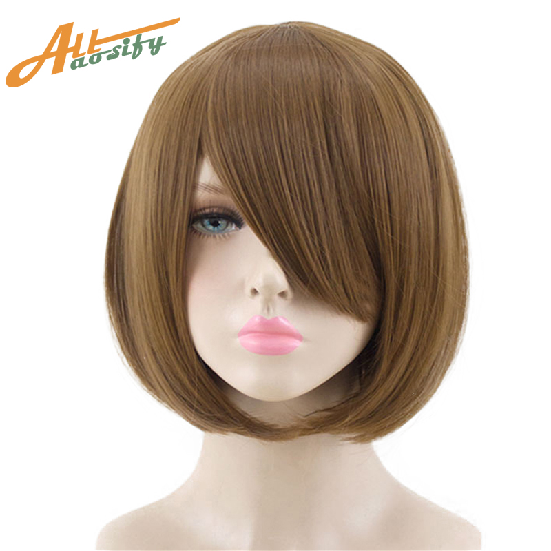 Allaosify Beauty Bob Cosplay Wig 14 Inches Synthetic Inner Buckle Hair 23Color Pink Black Red Blue Heat Resistant Hairpiece