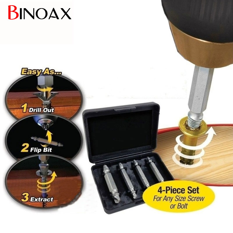 Binoax 4Pcs Screw Extractor Drill Bits Guide Set Broken Damaged Bolt Remover Double Ended Damaged Screw Extractor 1# 2# 3# 4#