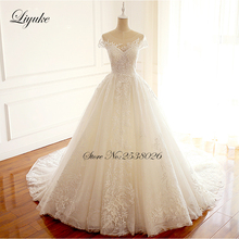 Simple Embroidery Beautiful Lace  A-Line Wedding Dresses Scalloped Neckline Gown