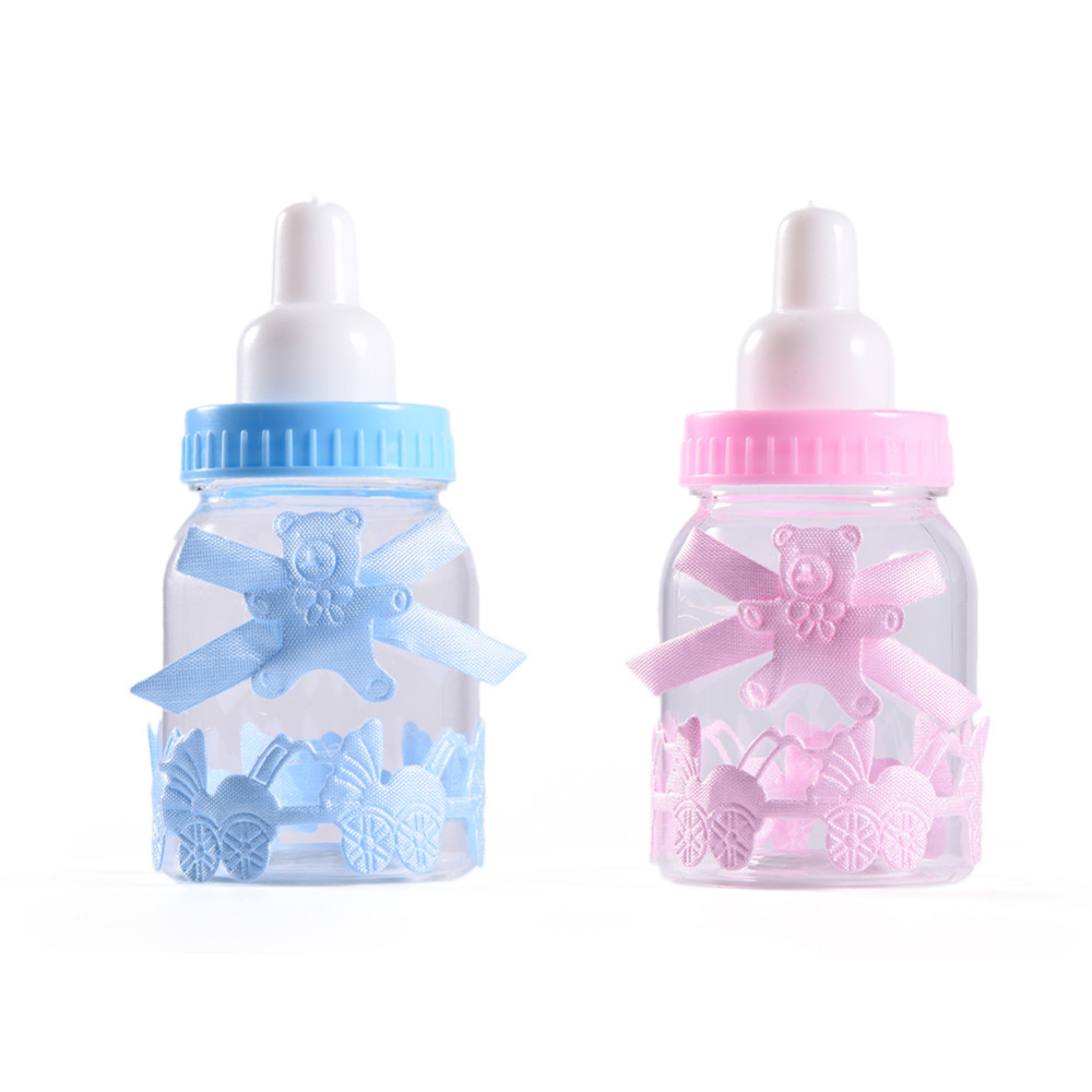 12Pcs/Lot Baby Shower Gift Box Bottle Blue/PinkChristening Brithday Party  Favors Gift Favors Candy Boxes For Boy Girls Gifts