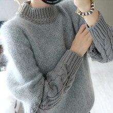 Для женщин Свитеры для женщин и Пуловеры 2017 корейский Повседневное лоскутное водолазка с длинными рукавами свитер серого цвета Искусственный мех трикотаж тянуть Femme T72
