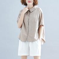 Summer New Cotton Linen Shirts Women Cloths 2019 New Short Sleeve Solid Color Korean Style Bowknot Women Blouse Tops
