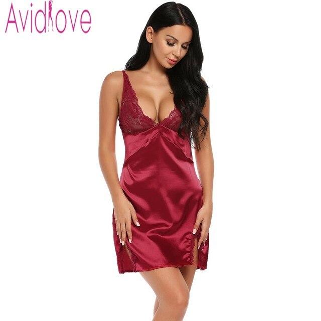 new product b2933 5f74f US $11.36 30% OFF|Avidlove Satin Nachthemd Frauen Sexy Seide Nacht Kleid  Ärmellose Nachthemden Schlupf Startseite Kleidung Spitze Nacht Kleid ...