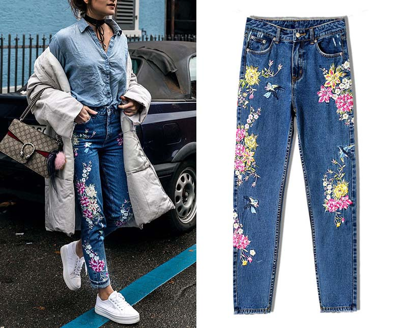 2017 Europe and the United States women's three-dimensional 3D heavy craft bird flowers before and after embroidery high waist Slim straight jeans large code system 46 yards (7)