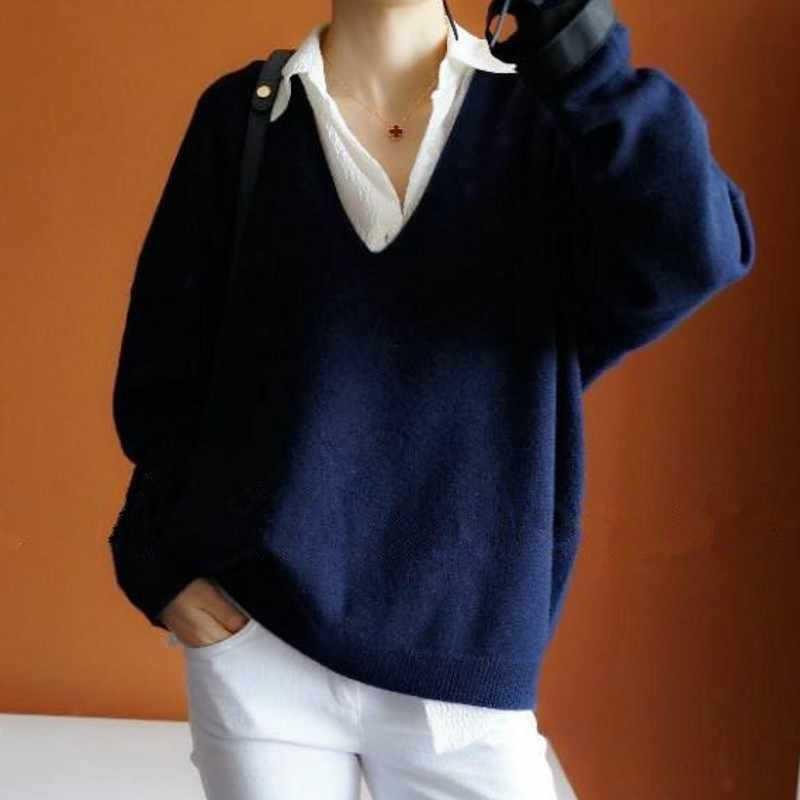 2019 new cashmere sweater women sexy big V collar pullover ladies fashion bat sleeves sweater
