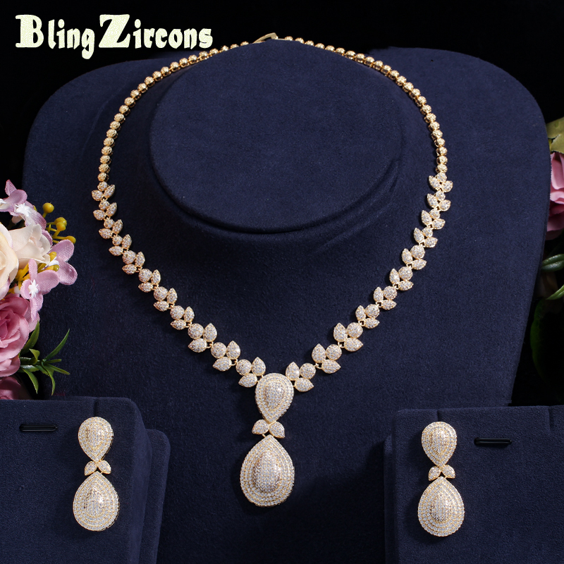BeaQueen Nigerian African Gold Color Micro Pave CZ Stone Bridal Wedding Costume Drop Earrings Necklace Jewelery Sets JS096