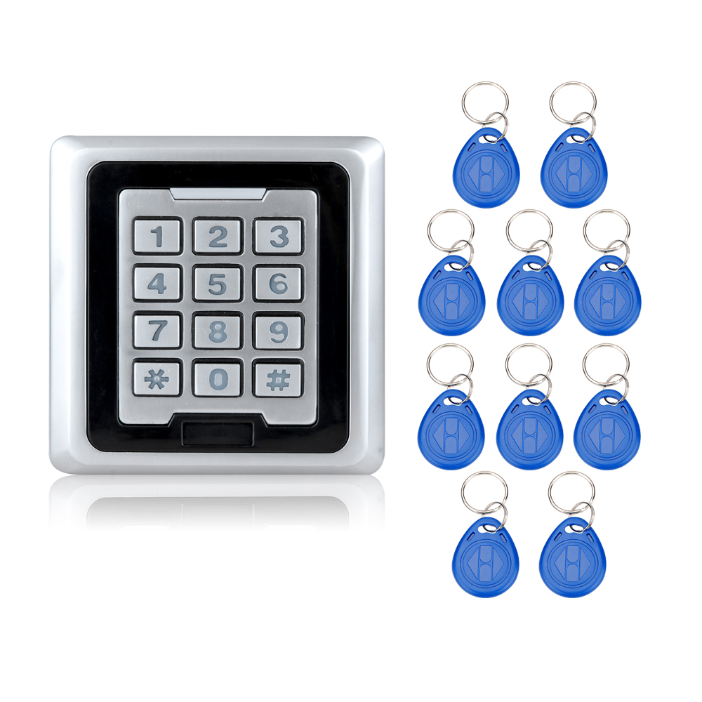 RFID Waterproof Door Access Controller With Metal Keypad Locks With WG26/WG34 Interface 125KHz Card Reader Locks+10 key fobs-K86 lpsecurity 10 tags or 10 cards 125khz gate door lock rfid keypad proximity reader access controller wg26 input for slave reader