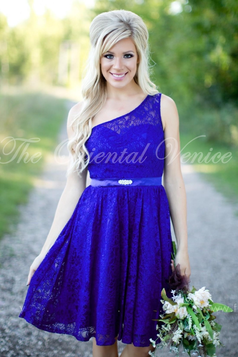 Country style beach bridesmaid dresses royal blue lace short country style beach bridesmaid dresses royal blue lace short wedding party dress knee length one shoulder maid of honor gowns in bridesmaid dresses from ombrellifo Images