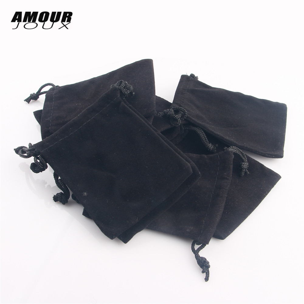 AMOURJOUX 10 Pieces/lot 7*9cm Black Velvet Ring Earrings Bracelet Necklace Bag Display Packaging Gift Pouch