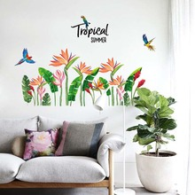 цена на Hot Sale PVC Waterproof Wall Stickers Bird Tropical Flower Pattern for Living Room Bedroom