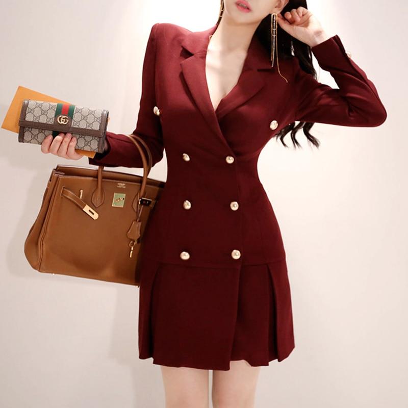 Dress Suits For Women 2019 Autumn Winter Elegant Blazer Long Sleeve Jacket Coat Female Office Lady Double Breasted Mini Dresses