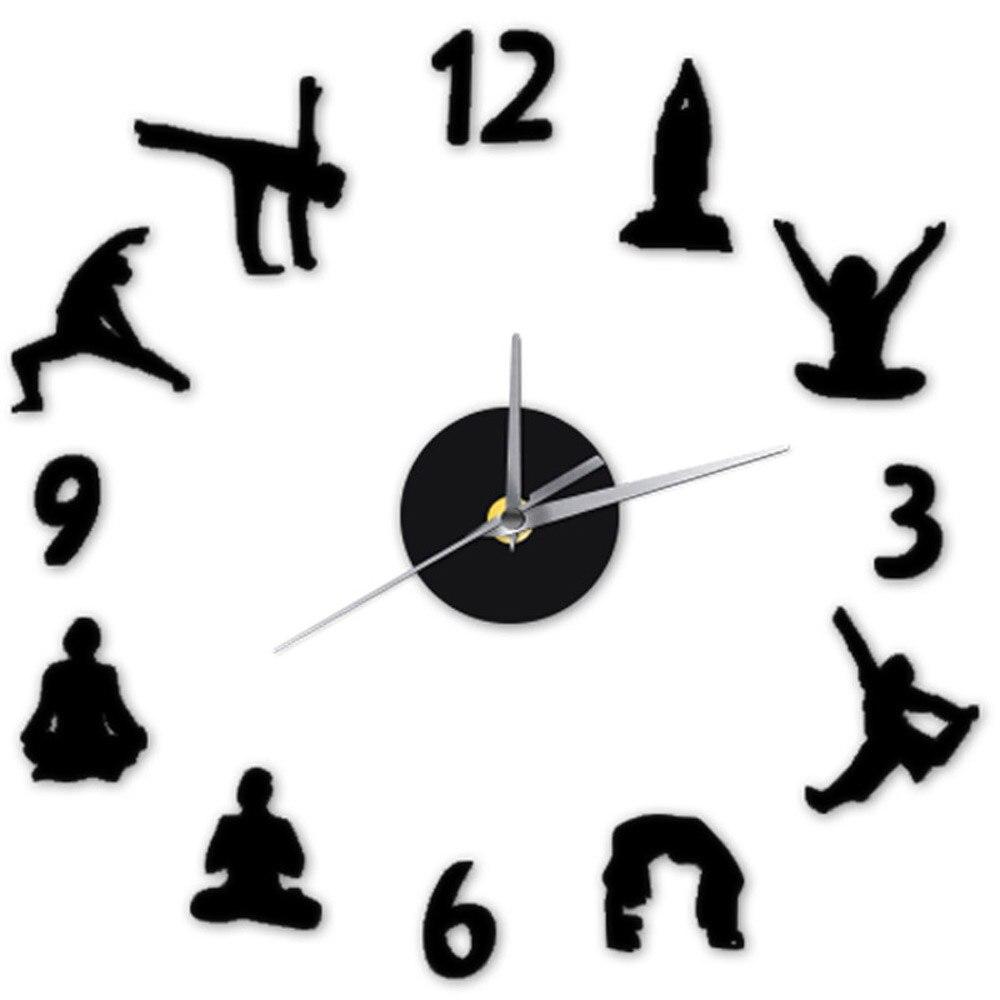 Yoga Abbildung Arabische Zahlen DIY Wanduhr Modernes Design Home Decor 3D  Wanduhr Quarz Ruhig Uhr Dekorative Wandaufkleber