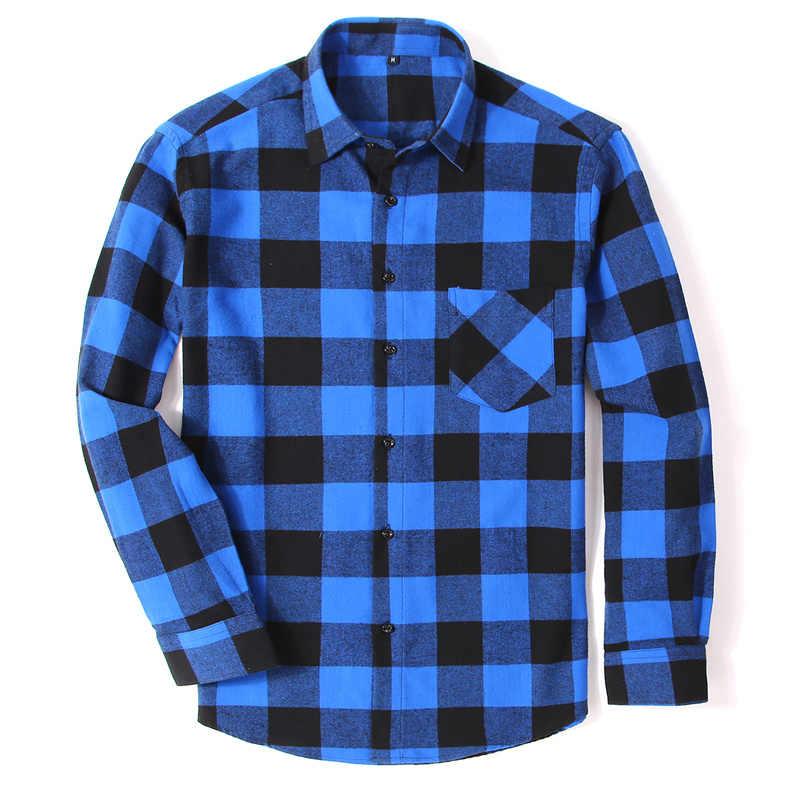 綿 100% フランネル男性の格子縞のシャツスリムフィット男性カジュアル長袖シャツソフト快適な通気性品質 4XL