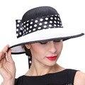 Джун молодых женщин шляпы горошек шаблон широкими полями Sinamay органза материал дерби ну вечеринку свадебная одежда горячая распродажа мода Fedoras