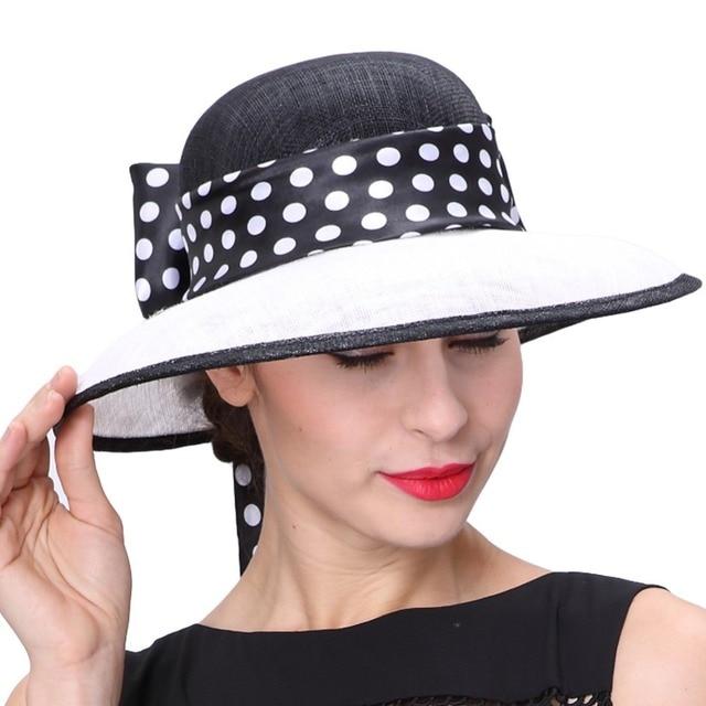 June S Young Women Hats Polka Dot Pattern Wide Brim Sinamay Organza Material Derby Party Wedding Wear