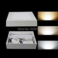 10pcs+ Free shipping 24W Square Surface Mounted LED Ceiling Light 300mm Aluminium Square Ceiling Panel White AC85 265V