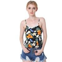 WomensDate Summer Fashion Women Sling Tank Vest Lace Ruffles Print Flower Short Top Shirt Vests For