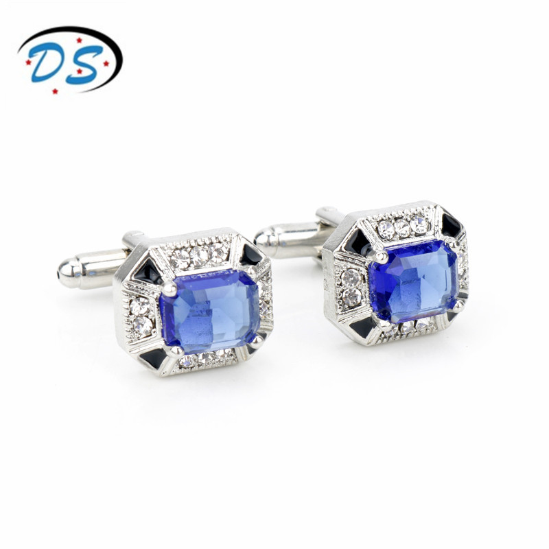 dongsheng jewelry Square Rhinestones Blue Crystal Cufflinks for Man Gentleman French Shirt Cuff Links fathers day souvenir