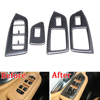 For Volvo XC90 2016 2017 2018 Carbon Fiber Window Door Lift Switch Panel Trim Cover Interior Mouldings Accesories Styling