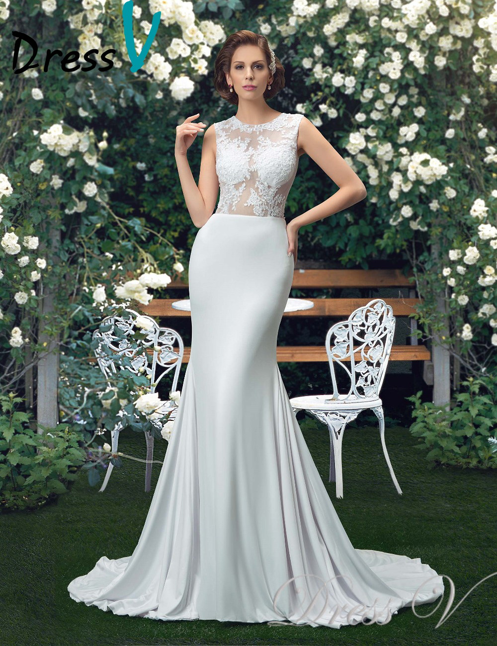 Dressv charming beachgarden wedding dresses trumpet sexy see dressv charming beachgarden wedding dresses trumpet sexy see through lace top scoop bridal gowns vestido de noiva plus size in wedding dresses from junglespirit Choice Image