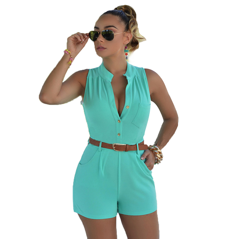 Summer Women Playsuit Rompers 2017 Womens   Jumpsuit   Sexy Short Bodycon Sleeveless   Jumpsuits   Combinaison Femme Combiner LJ3911C