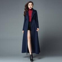 2016 New Fashion Women s Ultra Long Winter Jacket Coat Slim Double Breasted Woolen Overcoat Solid