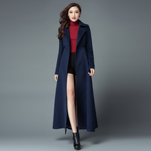 2016 New Fashion Women's Ultra Long Winter Jacket Coat Slim Double Breasted Woolen Overcoat Solid Color Cashmere Coats S-4XL