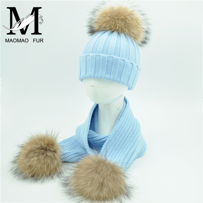 Kids Knit Beanie Hats and Scarves Winter Real Fur Pom Pom Hat Scarf Set for Child Chunky Thick Warm Natural Fur Ball Hat