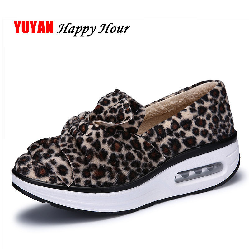 New Arrival Winter Shoes Women Sneakers Casual Leopard Shoes Flat Platform  Plush Warm Shoes ZH2645 73f761819644